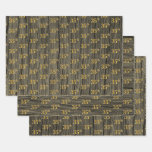 "[ Thumbnail: Rustic Faux Wood Grain, Elegant Faux Gold ""35th"" Wrapping Paper Sheets ]"