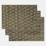 "[ Thumbnail: Rustic Faux Wood Grain, Elegant Faux Gold ""36th"" Wrapping Paper Sheets ]"