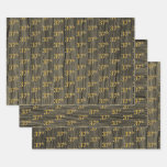 "[ Thumbnail: Rustic Faux Wood Grain, Elegant Faux Gold ""37th"" Wrapping Paper Sheets ]"
