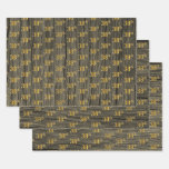 "[ Thumbnail: Rustic Faux Wood Grain, Elegant Faux Gold ""38th"" Wrapping Paper Sheets ]"