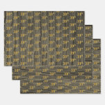 "[ Thumbnail: Rustic Faux Wood Grain, Elegant Faux Gold ""39th"" Wrapping Paper Sheets ]"