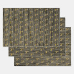 "[ Thumbnail: Rustic Faux Wood Grain, Elegant Faux Gold ""3rd"" Wrapping Paper Sheets ]"