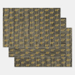 "[ Thumbnail: Rustic Faux Wood Grain, Elegant Faux Gold ""40th"" Wrapping Paper Sheets ]"
