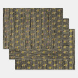 "[ Thumbnail: Rustic Faux Wood Grain, Elegant Faux Gold ""41st"" Wrapping Paper Sheets ]"