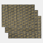 "[ Thumbnail: Rustic Faux Wood Grain, Elegant Faux Gold ""42nd"" Wrapping Paper Sheets ]"