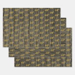 "[ Thumbnail: Rustic Faux Wood Grain, Elegant Faux Gold ""44th"" Wrapping Paper Sheets ]"