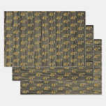 "[ Thumbnail: Rustic Faux Wood Grain, Elegant Faux Gold ""45th"" Wrapping Paper Sheets ]"