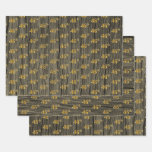 "[ Thumbnail: Rustic Faux Wood Grain, Elegant Faux Gold ""46th"" Wrapping Paper Sheets ]"