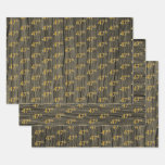 "[ Thumbnail: Rustic Faux Wood Grain, Elegant Faux Gold ""47th"" Wrapping Paper Sheets ]"