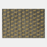 "[ Thumbnail: Rustic Faux Wood Grain, Elegant Faux Gold ""48th"" Wrapping Paper Sheets ]"