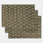 "[ Thumbnail: Rustic Faux Wood Grain, Elegant Faux Gold ""49th"" Wrapping Paper Sheets ]"