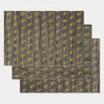 "[ Thumbnail: Rustic Faux Wood Grain, Elegant Faux Gold ""4th"" Wrapping Paper Sheets ]"