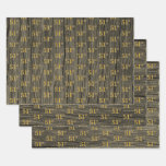 "[ Thumbnail: Rustic Faux Wood Grain, Elegant Faux Gold ""51st"" Wrapping Paper Sheets ]"