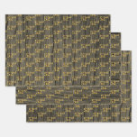 "[ Thumbnail: Rustic Faux Wood Grain, Elegant Faux Gold ""52nd"" Wrapping Paper Sheets ]"