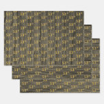 "[ Thumbnail: Rustic Faux Wood Grain, Elegant Faux Gold ""53rd"" Wrapping Paper Sheets ]"