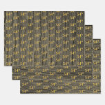 "[ Thumbnail: Rustic Faux Wood Grain, Elegant Faux Gold ""54th"" Wrapping Paper Sheets ]"