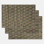 "[ Thumbnail: Rustic Faux Wood Grain, Elegant Faux Gold ""55th"" Wrapping Paper Sheets ]"