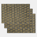 """[ Thumbnail: Rustic Faux Wood Grain, Elegant Faux Gold """"58th"""" Wrapping Paper Sheets ]"""