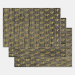 """[ Thumbnail: Rustic Faux Wood Grain, Elegant Faux Gold """"59th"""" Wrapping Paper Sheets ]"""