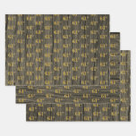 """[ Thumbnail: Rustic Faux Wood Grain, Elegant Faux Gold """"61st"""" Wrapping Paper Sheets ]"""