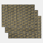 """[ Thumbnail: Rustic Faux Wood Grain, Elegant Faux Gold """"62nd"""" Wrapping Paper Sheets ]"""