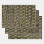 """[ Thumbnail: Rustic Faux Wood Grain, Elegant Faux Gold """"63rd"""" Wrapping Paper Sheets ]"""