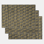 """[ Thumbnail: Rustic Faux Wood Grain, Elegant Faux Gold """"67th"""" Wrapping Paper Sheets ]"""