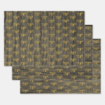 """[ Thumbnail: Rustic Faux Wood Grain, Elegant Faux Gold """"70th"""" Wrapping Paper Sheets ]"""