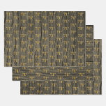 """[ Thumbnail: Rustic Faux Wood Grain, Elegant Faux Gold """"71st"""" Wrapping Paper Sheets ]"""