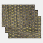"""[ Thumbnail: Rustic Faux Wood Grain, Elegant Faux Gold """"74th"""" Wrapping Paper Sheets ]"""