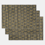 """[ Thumbnail: Rustic Faux Wood Grain, Elegant Faux Gold """"75th"""" Wrapping Paper Sheets ]"""