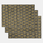 """[ Thumbnail: Rustic Faux Wood Grain, Elegant Faux Gold """"79th"""" Wrapping Paper Sheets ]"""