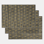 """[ Thumbnail: Rustic Faux Wood Grain, Elegant Faux Gold """"7th"""" Wrapping Paper Sheets ]"""