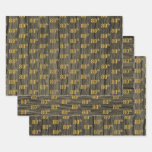 """[ Thumbnail: Rustic Faux Wood Grain, Elegant Faux Gold """"80th"""" Wrapping Paper Sheets ]"""