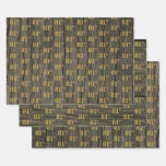 """[ Thumbnail: Rustic Faux Wood Grain, Elegant Faux Gold """"81st"""" Wrapping Paper Sheets ]"""