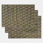 """[ Thumbnail: Rustic Faux Wood Grain, Elegant Faux Gold """"82nd"""" Wrapping Paper Sheets ]"""