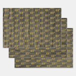 """[ Thumbnail: Rustic Faux Wood Grain, Elegant Faux Gold """"83rd"""" Wrapping Paper Sheets ]"""