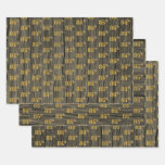 """[ Thumbnail: Rustic Faux Wood Grain, Elegant Faux Gold """"86th"""" Wrapping Paper Sheets ]"""