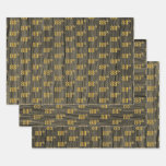 """[ Thumbnail: Rustic Faux Wood Grain, Elegant Faux Gold """"88th"""" Wrapping Paper Sheets ]"""