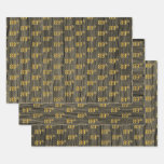 """[ Thumbnail: Rustic Faux Wood Grain, Elegant Faux Gold """"89th"""" Wrapping Paper Sheets ]"""
