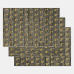"""[ Thumbnail: Rustic Faux Wood Grain, Elegant Faux Gold """"8th"""" Wrapping Paper Sheets ]"""