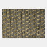 """[ Thumbnail: Rustic Faux Wood Grain, Elegant Faux Gold """"92nd"""" Wrapping Paper Sheets ]"""