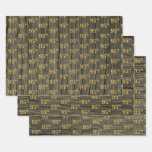 """[ Thumbnail: Rustic Faux Wood Grain, Elegant Faux Gold """"95th"""" Wrapping Paper Sheets ]"""