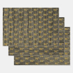 """[ Thumbnail: Rustic Faux Wood Grain, Elegant Faux Gold """"96th"""" Wrapping Paper Sheets ]"""