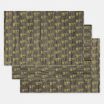 """[ Thumbnail: Rustic Faux Wood Grain, Elegant Faux Gold """"97th"""" Wrapping Paper Sheets ]"""