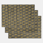 """[ Thumbnail: Rustic Faux Wood Grain, Elegant Faux Gold """"98th"""" Wrapping Paper Sheets ]"""