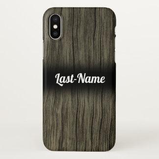 Rustic Faux Wood Look Pattern w/ Custom Name iPhone X Case