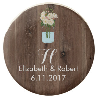 Rustic Faux Wood with Flower Mason Jar Chocolate Dipped Oreo