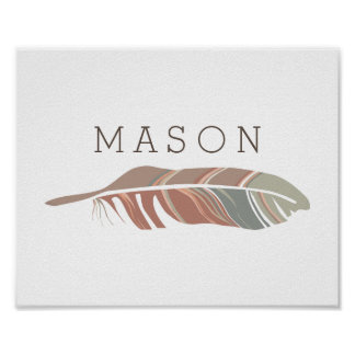 Rustic Feather | Blue Personalized Name Wall Art Poster