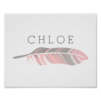 Rustic Feather | Pink Personalized Name Wall Art
